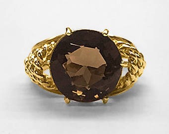 1950's vintage Tiffany-like (Schlumberger) Gold Ring with open twisted rope shoulders and 12 millimeter round Smoky Topaz; never worn!