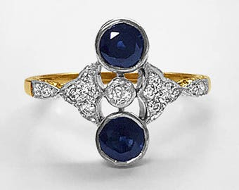 19th century antique 18K Yellow Gold vintage bezel set Sapphire & Diamond Engagement/Dinner Ring with Platinum top; made in Germany