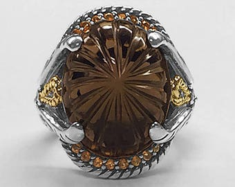 Handmade highly detailed Sterling Silver & 14K Yellow Gold Ring set with a large carved Oval Smoky Topaz, 16 Madeira Topaz and 2 Diamonds