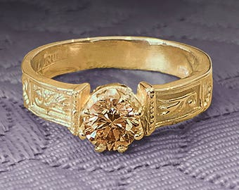 14K Yellow Gold mid-victorian style handmade Ring ready for the stone of your choice