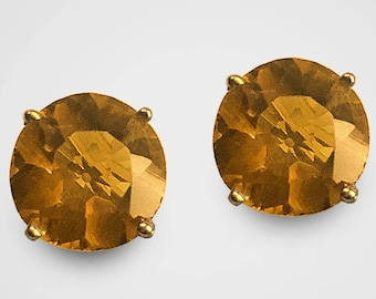 The birthstone for November, 14K Yellow Gold fine deep golden Citrine Stud Earrings (7 & 8 millimeters shown), available in any size
