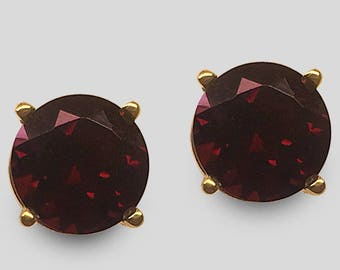 The birthstone for January, 14K Yellow Gold fine Garnet Stud Earrings (7 & 8 millimeters shown), available in any size