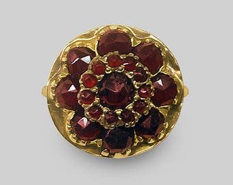 14K Yellow Gold Mid 19th Century extremely well made Victorian Garnet Cluster Ring set with twenty one rose cut Garnets
