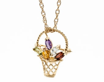 Spring basket of Multicolor Gemstones: Amethyst, Peridot, Topaz, Citrine & Garnet. Versatile 14K gold pin or pendant w/ optional rope chain.