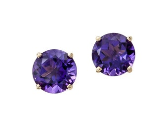 14k Yellow Gold basket-style studs prong set with finest round Siberian faceted natural Amethyst; February birthstone; available in any size
