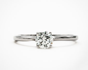 14K White Gold Handmade Solitaire Engagement Ring prong set with fine brilliant cut Diamond weighing 53/100 ct.