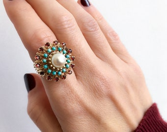 Vintage 14K Yellow Gold engagement / cocktail ring c.1960 set with gorgeous Garnets, Persian Turquoise, and fine Akoya Pearl.