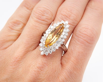 Vintage handmade Platinum Cocktail Ring c. 1955 set with 44 gem quality Diamonds (112/1000 carats) and a custom cut Golden Citrine (topaz)