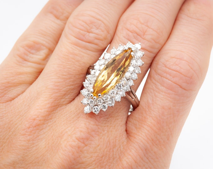 Featured listing image: Vintage handmade Platinum Cocktail Ring c. 1955 set with 44 gem quality Diamonds (112/1000 carats) and a custom cut Golden Citrine (topaz)