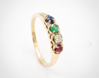 Vintage Rainbow engagement / stacking ring prong set w/ Ruby, Diamond, Emerald, Sapphire, in 14K Yellow Gold band w/ White Gold top. C. 1940