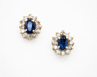 Classic 14K yellow gold Ceylon Sapphire and Diamond stud halo motif earring
