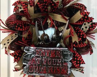 freddy krueger nightmare on elm street freddy wreath freddy glove scary decoration halloween prop freddy vs jason wes craven