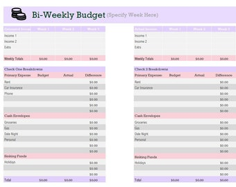 image about Bi Weekly Budget Worksheet Printable known as Biweekly price range Etsy