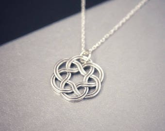 Celtic circle necklace Sterling silver Celtic necklace Knot necklace Celtic jewelry Celtic knot necklace Bridesmaid gift Irish Friendship