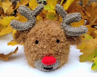 KNITTING PATTERN Rudolph the Reindeer choc orange cover 13 cms Christmas toy