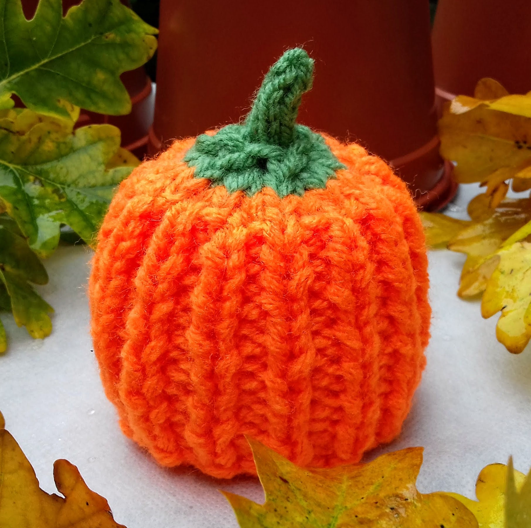 Pumpkin Chocolate Orange Cover Knitting Pattern, Halloween Knitting  Patterns For Toys, Knitted Halloween Decorations, Thanksgiving Cosy Gift