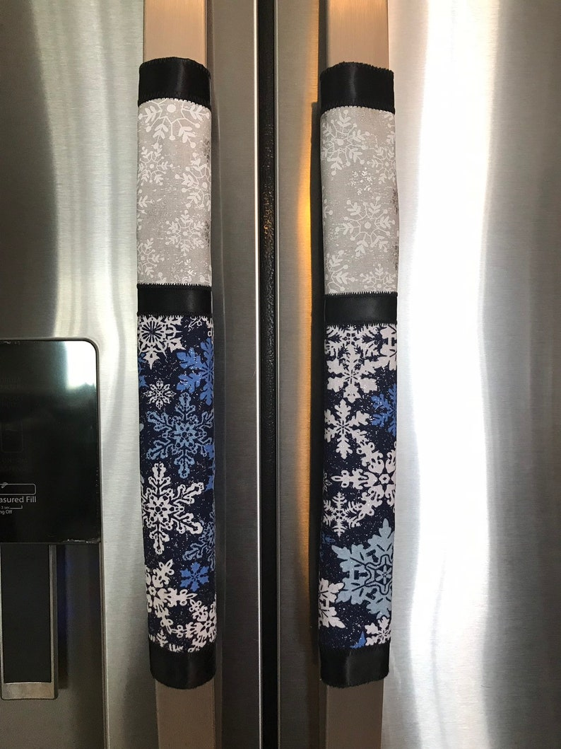 Details about  /Christmas Decorations Refrigerator Door Handle Cover Embroidered Snowflake