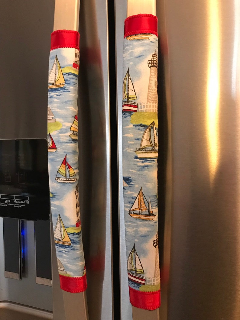 Refrigerator Door Handle Covers Set of Two Lighthouse Boats Theme 13 L x 4.5-5\u201d W