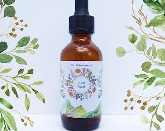 Poke Root ( Phytolacca americana )- 1:2  - Fresh Wild Organic Plant Tincture - Wild-harvested and GLUTEN FREE