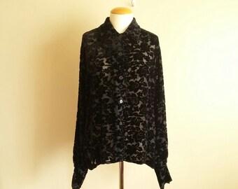 8fc01f68 Vintage 90s Women's Long Sleeve Burnout Velvet Top. Rayon. Goth. Gothic.  Fairuza Balk. Dramatic Long Sleeves. Size Large. 'Valenti'. Sexy.