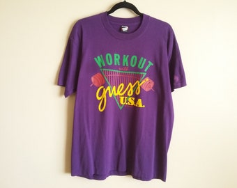c5acf3ab4bdb Vintage 80s Guess? USA T-Shirt. 'Workout With Guess? USA'. Purple. Guess  Jeans. Screen Stars Best. Made In USA. Size Extra Large. 50/50.
