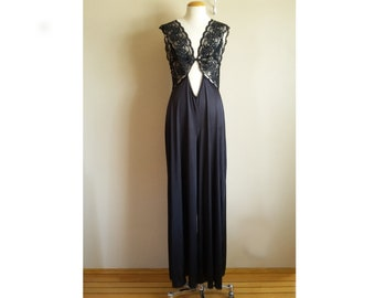 042996f1a035 Vintage 80s Lace And Nylon Super Wide Leg Sexy Jumpsuit. Loose Fit. Size  Large. Black lightweight Nylon Tricot. Onesie pantsuit lingerie