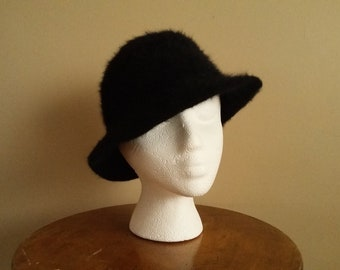 2cb61bbe7c0 Vintage 60s Women s Black Fuzzy Angora Hat.  Fluffi . Marida. Made In  England. Lady Bowler Hat. Like A Small. Very Cute. Fancy Hat.