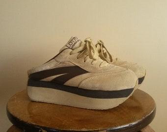 38b79125731c Vintage 90s Women s Slip On Platform Sneakers. Size 7.  London  Underground . Suede. Foam Sole. Beige