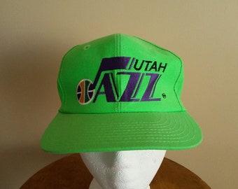 a2eeae6ee06 Vintage 90s Utah Jazz Snapback Hat. Neon Green. Dayglo. One Size. Basketball.  NBA. Official NBA. Karl Malone. John Stockton. Hip Hop.