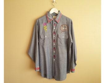 b46bc7f5c Vintage 70s Men s Embroidered Faux-Chambray Western Hippie Shirt.  Big Mac   Brand. JC Penney. Denim Shirt. Button Up. 50 50. Cowboy. Sunset.