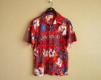 048f35b0 Vintage 60s Hawaiian Shirt. Aloha Shirt. 'Polynesian Bazaar'. Magnum PI.  Surfing. Size Medium, Made In Hawaii. Red. White. Orange. Blue.