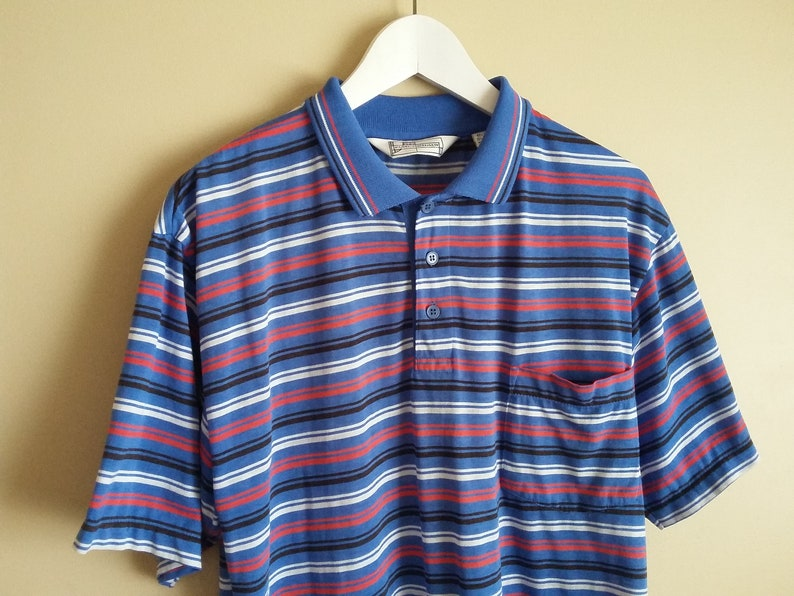 ee5b776050 Vintage 80s Men's Striped Polo-Style Collared Shirt. Blue | Etsy