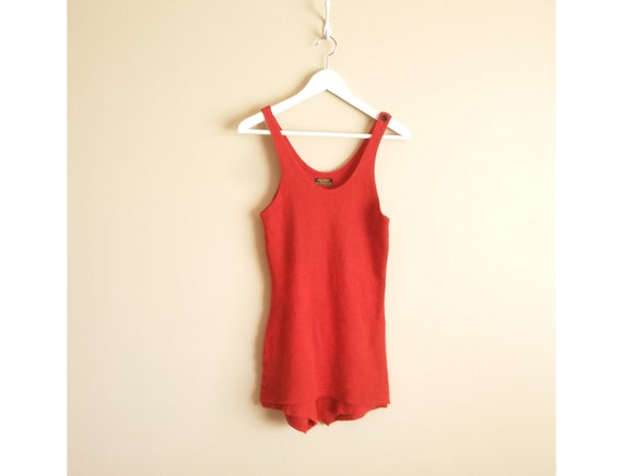 Vintage 1920s Women's 100% Wool Red Bathing Suit.