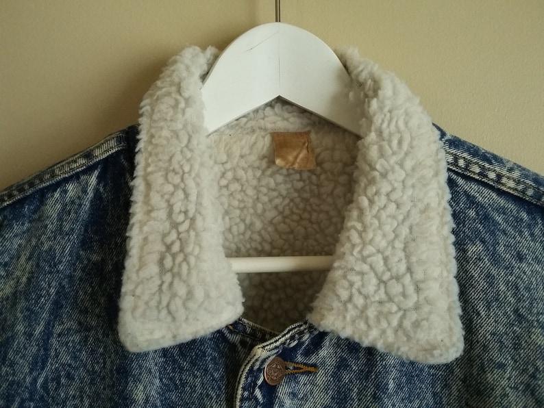 Jeans of Canada Oversized Fit Side Pockets. Sherpa Trucker Jacket Size Large To Extra Large Vintage 80s Unisex Santana Acid Wash Jacket