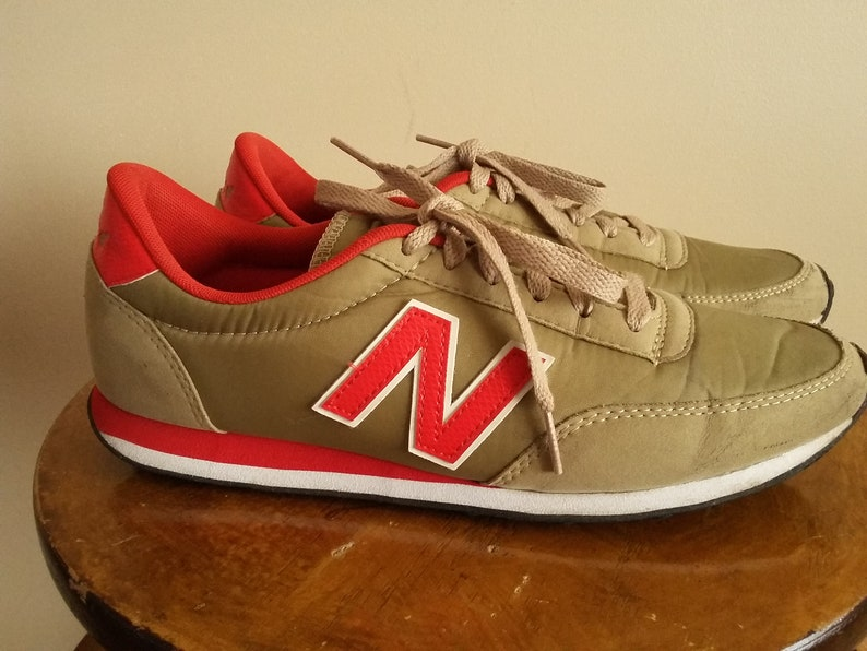 e5622eccd3a48 Vintage 80s/90s Men's New Balance 410 Sneakers. Size 7.5 US. Size 7 UK.  Trainers. Running Shoes. Normcore. Red. Gold. Made In Vietnam.