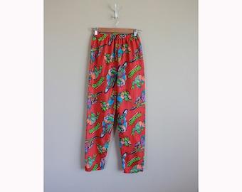 Vintage 1990 Teenage Mutant Ninja Turtles Kids Nylon Pants. Extreme 90s. Cowabunga. BMX. Skateboarding. Long. Funatics. Size 7/8 Small.