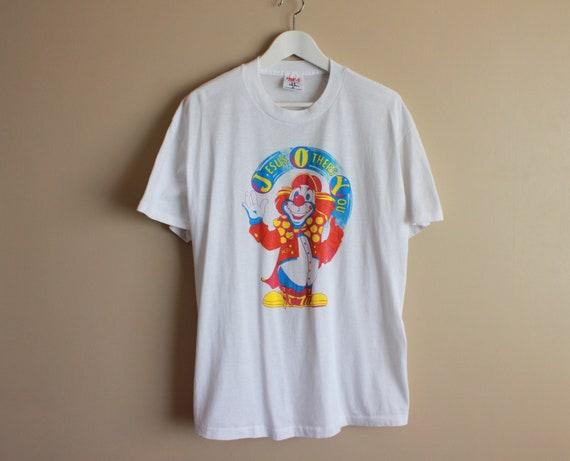 Vintage 90s Jesus Clown T-shirt. Size XL White 50-