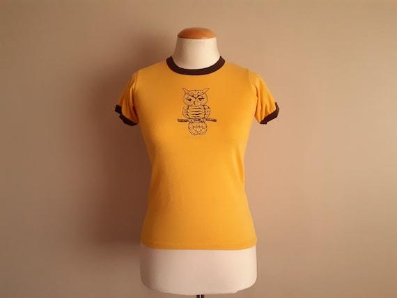 Vintage 1970s Yellow Owl Ringer T-shirt. Cute Owl!