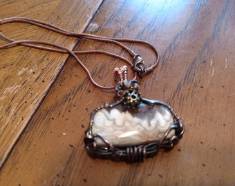 Lace agate stone necklace copper wire wrapped