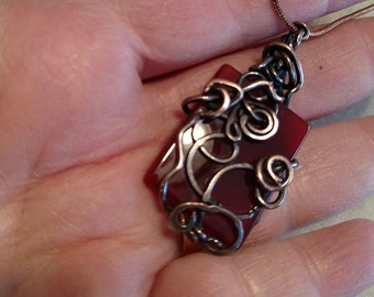 Carnelian stone necklace wire wrapped with copper wire