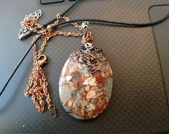 Snakeskin jasper pendant necklace copper wire wrapped.
