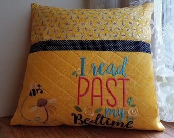 Personalized-Pillow cover-Book lover gift-Embroidery birthday gift-Bookish-Reading pillow-Book pillow-Pocket pillow-Travel pillow-Handmade