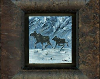Moose on the Run: cow with calf Custom Painting | Original Artwork