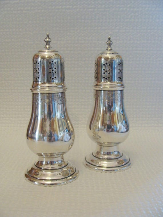 Lovely Antique Chased Sterling Silver Salt And Pepper Shakers Etsy