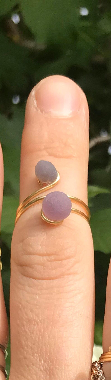 Grape Calcite Double Wire Wrapped Midi Ring