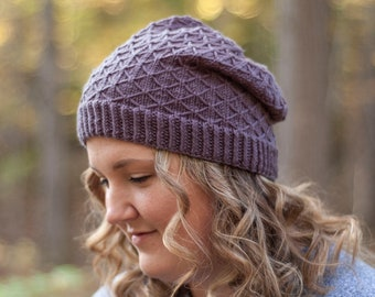Marcia Slouchy Beanie Knitting Pattern | Hat Knit Toque How-To | Lattice Trellis Stitch In The Round