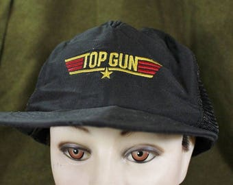 80cccff1534 Vintage Top Gun Movie Logo Military Navy Mesh Snapback Baseball Hat Cap