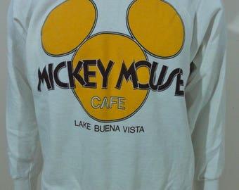 Vintage 90s DISNEY Mickey Mouse CAFE Sweatshirt Lake Buena Vista FL