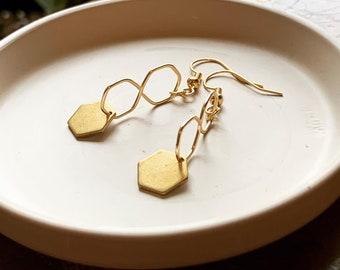 Gold dangle honeycomb earrings