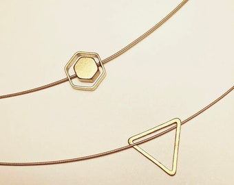 Delicate choker necklace/raw brass/hexagon or triangle